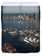 Seattle Skyline And South Industrial Area Duvet Cover