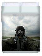 Self-portrait Of An Aerial Combat Duvet Cover
