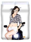 Sexy Biker Girl Duvet Cover