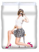 Sexy Brunette Pin Up Girl In Pink Retro Fashion Duvet Cover