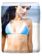 Sexy Tanned Beach Woman Duvet Cover