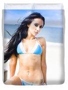 Sexy Tanned Beach Woman Duvet Cover