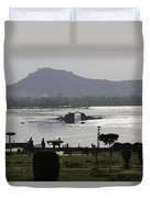 Shalimar Garden The Dal Lake And Mountains Duvet Cover