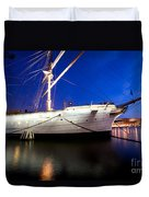 Ship At Night In Stockholm Duvet Cover