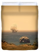 Ship Off The Coast Duvet Cover