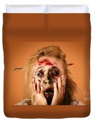 Shocked Horror Halloween Zombie With Hands Face Duvet Cover