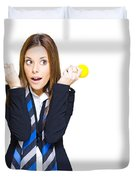 Shocked Woman With Ideas Of Business Innovation Duvet Cover