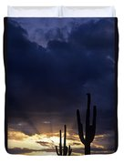Silhouetted Saguaro Cactus Sunset At Dusk Arizona State Usa Duvet Cover