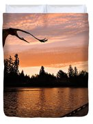Silver Lake Sunset Duvet Cover