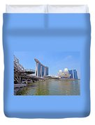 Singapore Artscience Museum Double Helix Bridge And Marina Bay  Duvet Cover