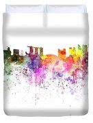 Singapore Skyline In Watercolour On White Background Duvet Cover