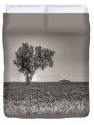 Single Tree In The Bean Field Duvet Cover
