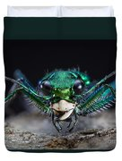 Six-spotted Green Tiger Beetle Duvet Cover