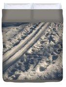 Ski Track In Sunlight Duvet Cover