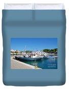 Skiathos Town Harbour Duvet Cover