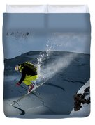 Skier Jumping On A Sunny Day Duvet Cover