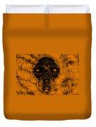 Skull In Orange Duvet Cover