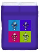 Skulls In Quad Colors Duvet Cover