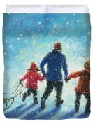 Sledding With Dad Duvet Cover