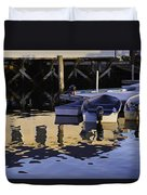 Small Boats And Dock In Port Clyde Maine Duvet Cover