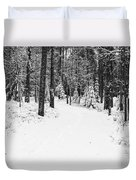 Small Road In A Snowy Forest Duvet Cover