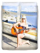 Smiling Girl Strumming Guitar At Tropical Beach Duvet Cover