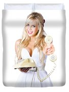 Smiling Woman With Retro Telephone Duvet Cover
