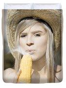 Smoking Hot Corn Cob Woman Duvet Cover