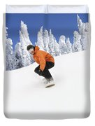 Snowboarder Going Down Snowy Hill Duvet Cover