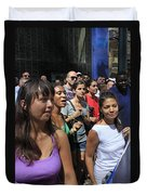 Some Young Ladies Enjoying The 2009 Cleansing Of 46th Street Duvet Cover