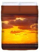Spectacular Dramatic Orange Sunset Over The Ocean Duvet Cover