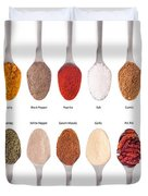 Spices Collection On Spoons Duvet Cover