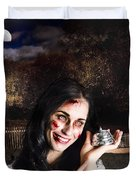 Spooky Girl With Silver Service Bell In Graveyard Duvet Cover