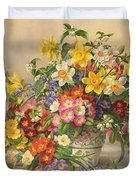 Spring Flowers And Poole Pottery Duvet Cover