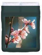 Spring Peach Tree Blossom Duvet Cover