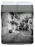 St George Street St Augustine Florida Painted Bw Duvet Cover