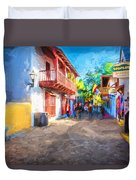 St George Street St Augustine Florida Painted Duvet Cover