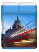 St. Pauls Cathedral And Light Trails Duvet Cover by Mark Thomas