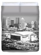 St. Pete Times Forum And Tampa Skyline Duvet Cover