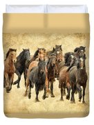 Stampede Of Wild Horses Duvet Cover