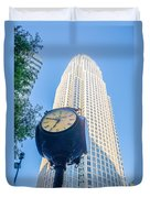 Standing By The Clock On City Intersection At Charlotte Downtown Duvet Cover