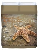 Starfish On Beach Duvet Cover