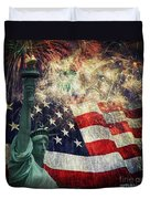 Statue Of Liberty And Fireworks Duvet Cover