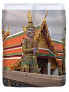 Statues At A Temple, Wat Phra Kaeo Duvet Cover