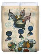 Still Life With Three Puppies Duvet Cover