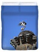 Storks On Top Of Valdecorneja Castle Duvet Cover