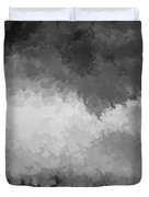 Storm Clouds Over A Cornfield Bw Duvet Cover