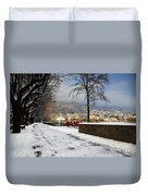 Street With Snow Duvet Cover