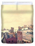 Streets Of Old Quebec City Duvet Cover
