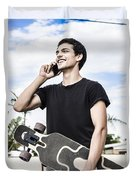 Student Talking To A Friend On Mobile Smartphone Duvet Cover